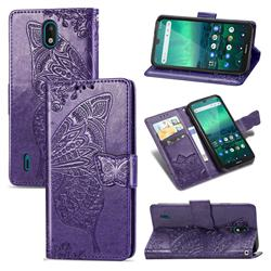 Embossing Mandala Flower Butterfly Leather Wallet Case for Nokia 1.3 - Dark Purple