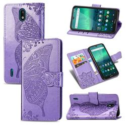 Embossing Mandala Flower Butterfly Leather Wallet Case for Nokia 1.3 - Light Purple