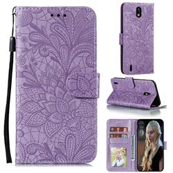 Intricate Embossing Lace Jasmine Flower Leather Wallet Case for Nokia 1.3 - Purple