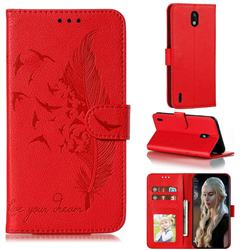 Intricate Embossing Lychee Feather Bird Leather Wallet Case for Nokia 1.3 - Red