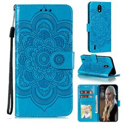 Intricate Embossing Datura Solar Leather Wallet Case for Nokia 1.3 - Blue