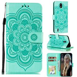 Intricate Embossing Datura Solar Leather Wallet Case for Nokia 1.3 - Green