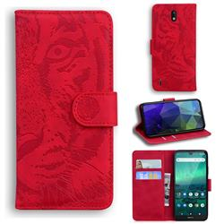 Intricate Embossing Tiger Face Leather Wallet Case for Nokia 1.3 - Red