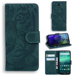 Intricate Embossing Tiger Face Leather Wallet Case for Nokia 1.3 - Green