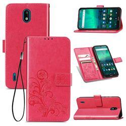 Embossing Imprint Four-Leaf Clover Leather Wallet Case for Nokia 1.3 - Rose Red