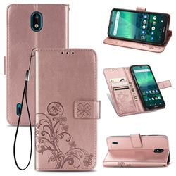 Embossing Imprint Four-Leaf Clover Leather Wallet Case for Nokia 1.3 - Rose Gold