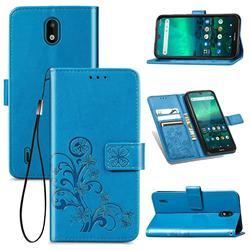 Embossing Imprint Four-Leaf Clover Leather Wallet Case for Nokia 1.3 - Blue