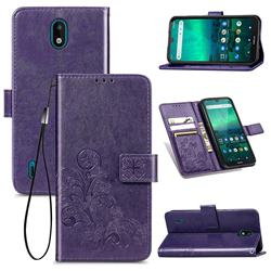 Embossing Imprint Four-Leaf Clover Leather Wallet Case for Nokia 1.3 - Purple
