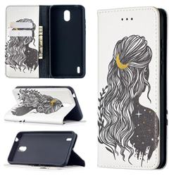 Girl with Long Hair Slim Magnetic Attraction Wallet Flip Cover for Nokia 1.3