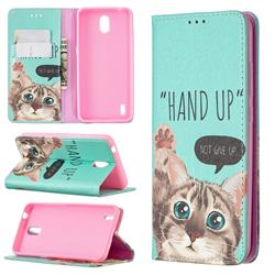 Hand Up Cat Slim Magnetic Attraction Wallet Flip Cover for Nokia 1.3