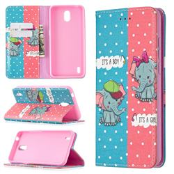 Elephant Boy and Girl Slim Magnetic Attraction Wallet Flip Cover for Nokia 1.3