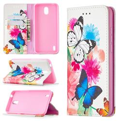 Flying Butterflies Slim Magnetic Attraction Wallet Flip Cover for Nokia 1.3