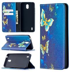 Gold Butterfly Slim Magnetic Attraction Wallet Flip Cover for Nokia 1.3