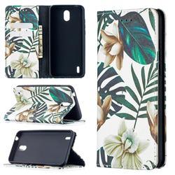 Flower Leaf Slim Magnetic Attraction Wallet Flip Cover for Nokia 1.3