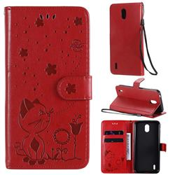 Embossing Bee and Cat Leather Wallet Case for Nokia 1.3 - Red