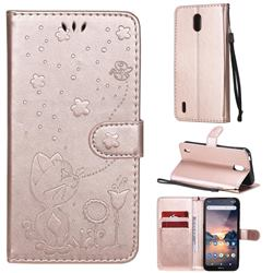 Embossing Bee and Cat Leather Wallet Case for Nokia 1.3 - Rose Gold