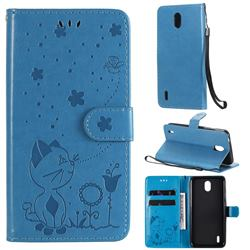 Embossing Bee and Cat Leather Wallet Case for Nokia 1.3 - Blue