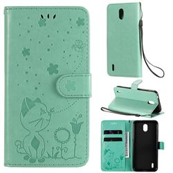 Embossing Bee and Cat Leather Wallet Case for Nokia 1.3 - Green