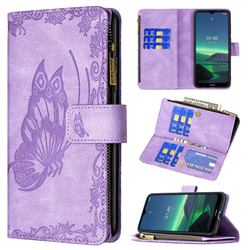 Binfen Color Imprint Vivid Butterfly Buckle Zipper Multi-function Leather Phone Wallet for Nokia 1.4 - Purple