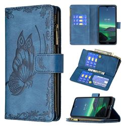 Binfen Color Imprint Vivid Butterfly Buckle Zipper Multi-function Leather Phone Wallet for Nokia 1.4 - Blue