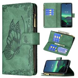Binfen Color Imprint Vivid Butterfly Buckle Zipper Multi-function Leather Phone Wallet for Nokia 1.4 - Green