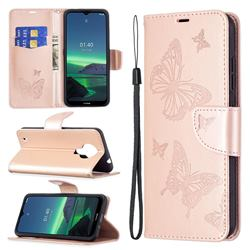 Embossing Double Butterfly Leather Wallet Case for Nokia 1.4 - Rose Gold