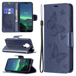 Embossing Double Butterfly Leather Wallet Case for Nokia 1.4 - Dark Blue