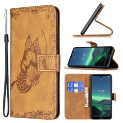 Binfen Color Imprint Vivid Butterfly Leather Wallet Case for Nokia 1.4 - Brown