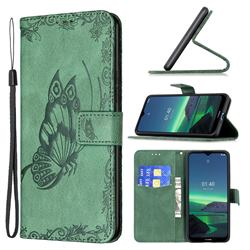 Binfen Color Imprint Vivid Butterfly Leather Wallet Case for Nokia 1.4 - Green