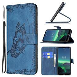 Binfen Color Imprint Vivid Butterfly Leather Wallet Case for Nokia 1.4 - Blue