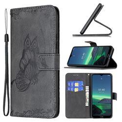 Binfen Color Imprint Vivid Butterfly Leather Wallet Case for Nokia 1.4 - Black