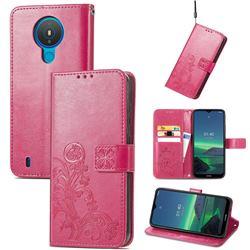 Embossing Imprint Four-Leaf Clover Leather Wallet Case for Nokia 1.4 - Rose Red