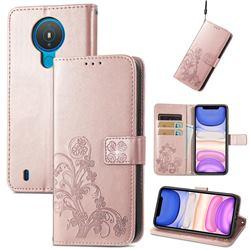 Embossing Imprint Four-Leaf Clover Leather Wallet Case for Nokia 1.4 - Rose Gold