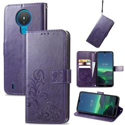 Embossing Imprint Four-Leaf Clover Leather Wallet Case for Nokia 1.4 - Purple