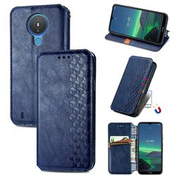 Ultra Slim Fashion Business Card Magnetic Automatic Suction Leather Flip Cover for Nokia 1.4 - Dark Blue