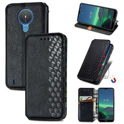 Ultra Slim Fashion Business Card Magnetic Automatic Suction Leather Flip Cover for Nokia 1.4 - Black