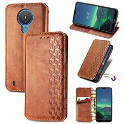 Ultra Slim Fashion Business Card Magnetic Automatic Suction Leather Flip Cover for Nokia 1.4 - Brown