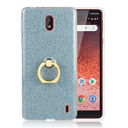 Luxury Soft TPU Glitter Back Ring Cover with 360 Rotate Finger Holder Buckle for Nokia 1 Plus (2019) - Blue