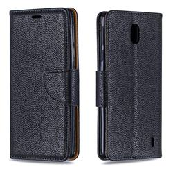 Classic Luxury Litchi Leather Phone Wallet Case for Nokia 1 Plus (2019) - Black