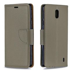 Classic Luxury Litchi Leather Phone Wallet Case for Nokia 1 Plus (2019) - Gray