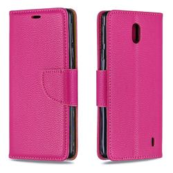 Classic Luxury Litchi Leather Phone Wallet Case for Nokia 1 Plus (2019) - Rose
