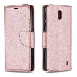 Classic Luxury Litchi Leather Phone Wallet Case for Nokia 1 Plus (2019) - Golden
