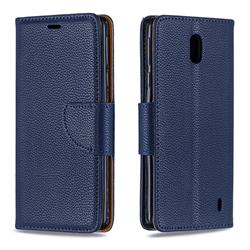 Classic Luxury Litchi Leather Phone Wallet Case for Nokia 1 Plus (2019) - Blue