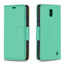 Classic Luxury Litchi Leather Phone Wallet Case for Nokia 1 Plus (2019) - Green
