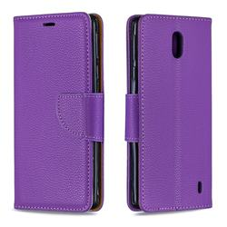 Classic Luxury Litchi Leather Phone Wallet Case for Nokia 1 Plus (2019) - Purple
