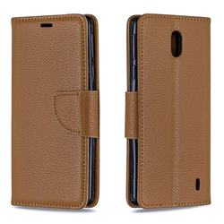 Classic Luxury Litchi Leather Phone Wallet Case for Nokia 1 Plus (2019) - Brown