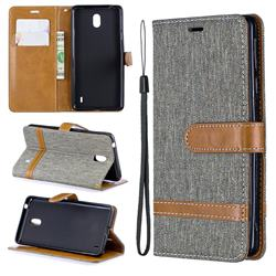 Jeans Cowboy Denim Leather Wallet Case for Nokia 1 Plus (2019) - Gray