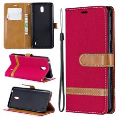 Jeans Cowboy Denim Leather Wallet Case for Nokia 1 Plus (2019) - Red