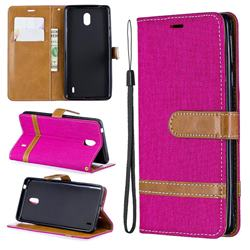 Jeans Cowboy Denim Leather Wallet Case for Nokia 1 Plus (2019) - Rose