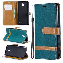 Jeans Cowboy Denim Leather Wallet Case for Nokia 1 Plus (2019) - Green